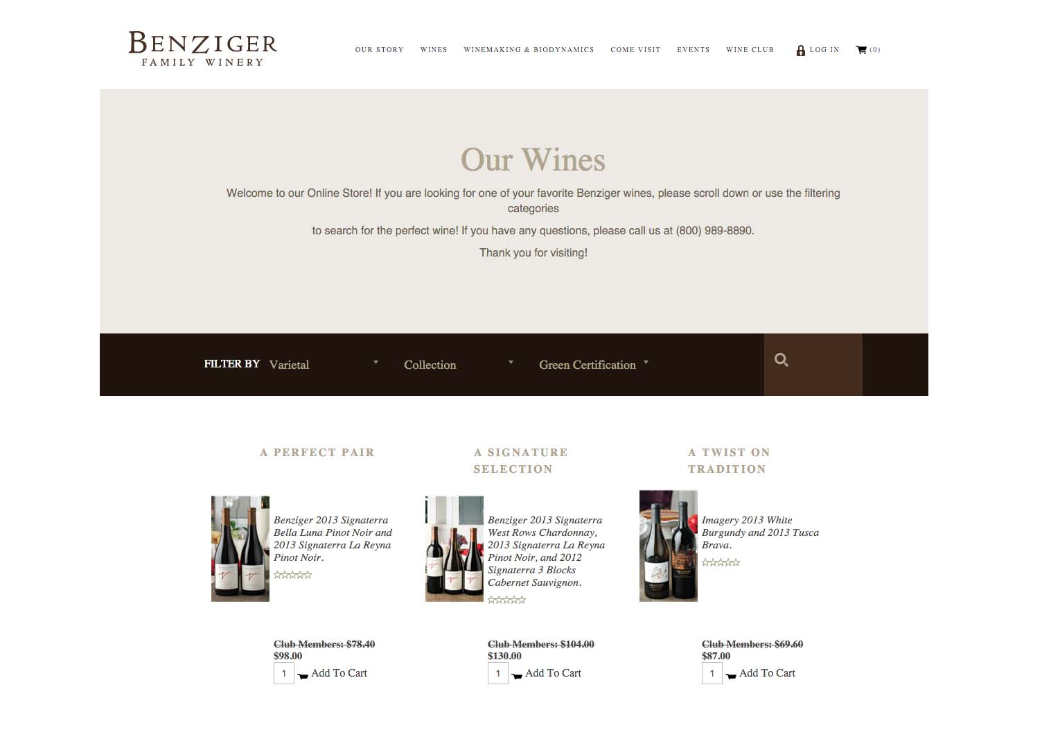 Benziger Website