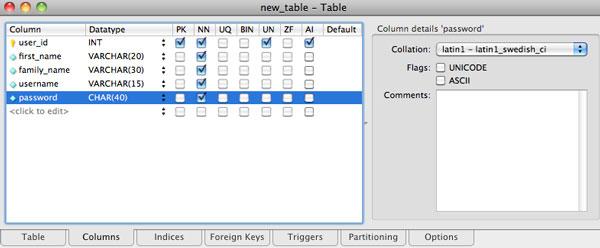 mysql workbench table columns