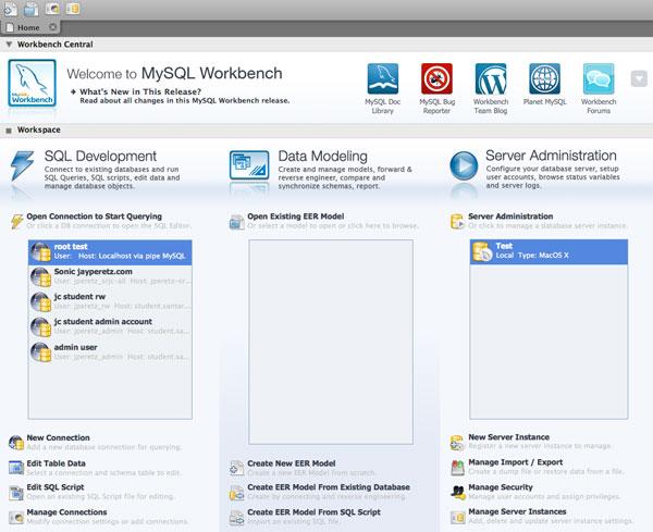 MySQL Workbench homepage