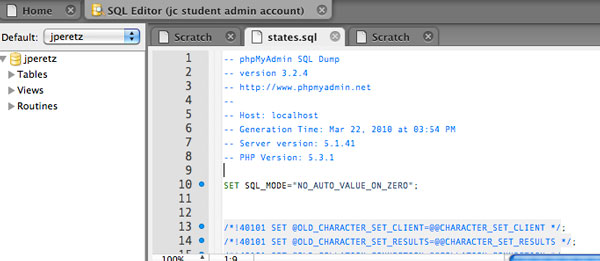 mysql workbench sql script editor